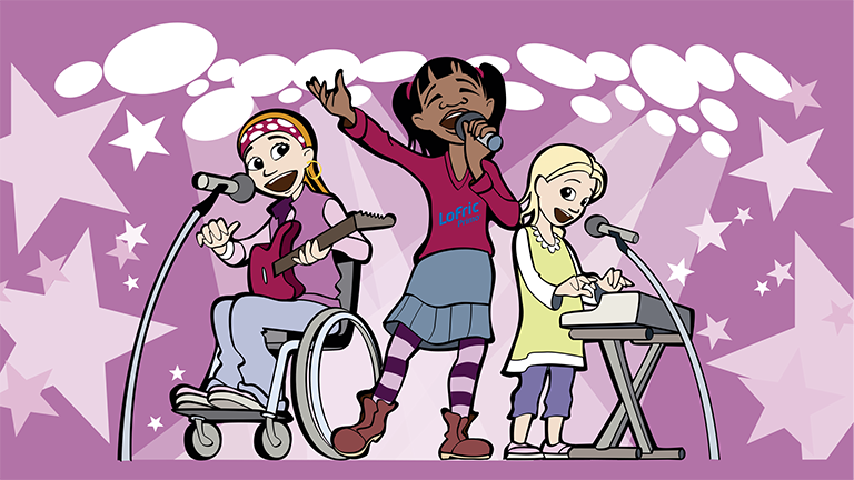 Wellspect Lofric Cartoon of children playing music together